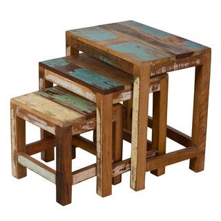 Stripped Wood 3-piece Nesting Table Trio