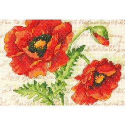 "Poppy Pair Mini Counted Cross Stitch Kit-7""X5"" 14 Count"
