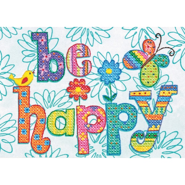 "Be Happy Mini Stamped Cross Stitch Kit-7""X5"" 9219372"