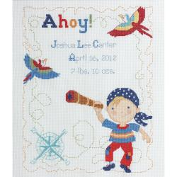 "Ships Ahoy Birth Record Counted Cross Stitch Kit-9-3/4""X12-3/4"" 14 Count"