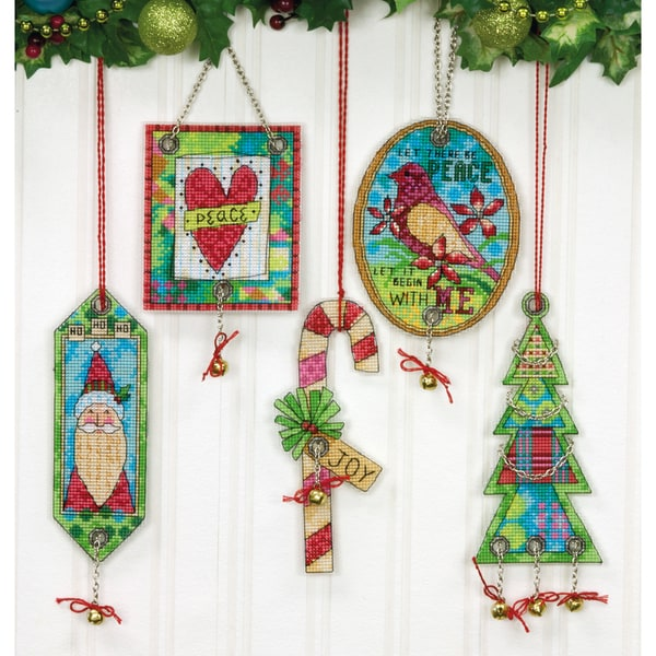 "Jingle Bell Ornaments Counted Cross Stitch Kit-8-1/4""X11"" 14 Count Set Of 5"