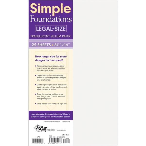 "Simple Foundations Legal-Size Translucent Vellum Paper-8-1/2""X14"" 25/Pkg"