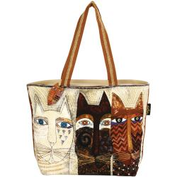 "Shoulder Tote Zipper Top 19""X4""X15""-Ancestral Cats"