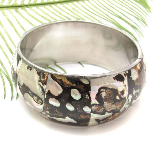 Abstract Nature Natural Lip Shell Textured Bracelet (Philippines)