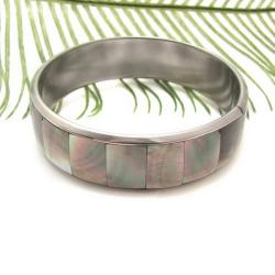 Grey Square Link Fashion Natural Lip Shell Bracelet (Philippines)