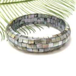 Cute Inlaid Green Tone Lip Shell Collage Bracelet (Philippines)