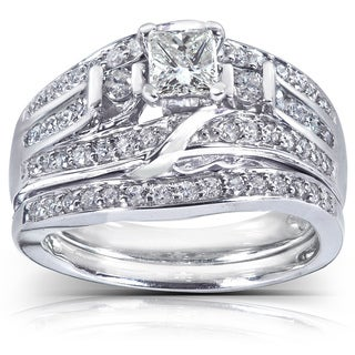 Annello 14k White Gold 1ct TDW Diamond Bridal Rings Set (H-I, I1-I2) with Bonus Item