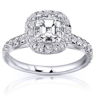 Annello 14k White Gold 1.40ct TDW Asscher Cut Diamond Halo Ring (H-I, SI1-SI2)