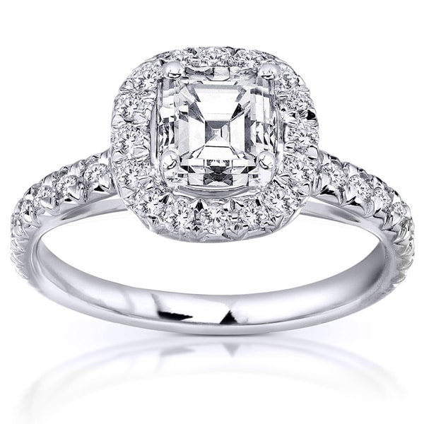 Annello 14k White Gold 1.40ct TDW Asscher Cut Diamond Halo Ring (H-I, SI1-SI2)