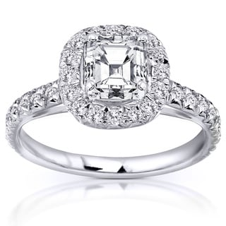 Annello 14k White Gold 1.40ct TDW Asscher Cut Diamond Halo Ring (H-I, SI1-SI2) with Bonus Item