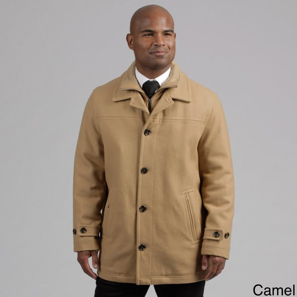 London Fog Men's Wool Blend Front Zip Coat