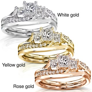 Annello  14k Gold 1ct TDW Diamond Bridal Rings Set (H-I, I1-I2)