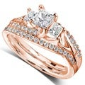 14k Gold 1-1/10ct TDW Diamond Bridal Rings Set