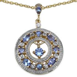 Malaika Gold over Silver 1 3/4ct TGW Tanzanite and White Topaz Necklace
