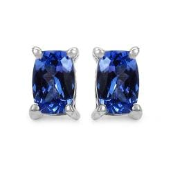 Malaika Sterling Silver 1ct TGW Cushion-cut Tanzanite Earrings