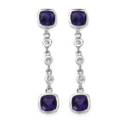 Malaika Sterling Silver 4 4/5ct TGW Amethyst and White Topaz Earrings
