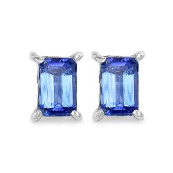 Malaika Sterling Silver 1 1/8ct TGW Emerald-cut Tanzanite Earrings