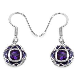 Malaika Sterling Silver 2ct TGW Cushion-cut Amethyst Earrings