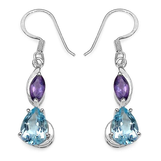 Malaika Sterling Silver 5ct TGW Blue Topaz and Amethyst Earrings