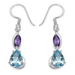 Malaika Sterling Silver 5ct TGW Blue Topaz and Amethyst Earrings