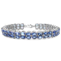 Malaika Sterling Silver 18ct Genuine Tanzanite Ovals Bracelet