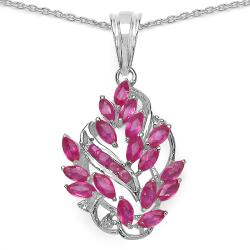Malaika Sterling Silver 2 1/5ct TGW Ruby and White Topaz Necklace