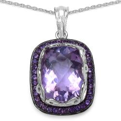 Malaika Sterling Silver 8 3/5ct TGW Amethyst Necklace