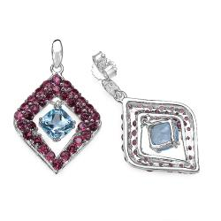 Malaika Sterling Silver 5 1/3ct TGW Blue Topaz and Rhodolite Earrings