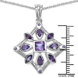 Malaika Sterling Silver 2 1/6ct TGW Amethyst Necklace