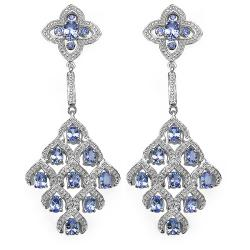 Malaika Sterling Silver 3 3/4ct TGW Tanzanite Earrings