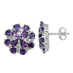 Malaika Sterling Silver 4 3/5ct TGW Amethyst Earrings