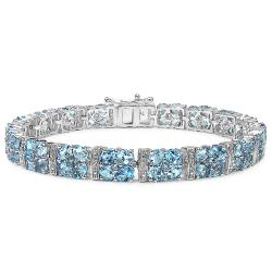Malaika Sterling Silver 20ct TGW Blue and White Topaz Bracelet