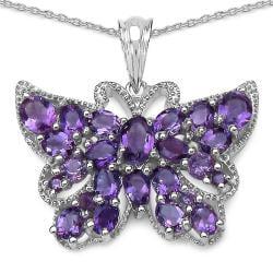 Malaika Sterling Silver 4 3/5ct TGW Amethyst Butterfly Necklace