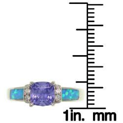 CGC Sterling Silver Cubic Zirconia and Created Opal Ring