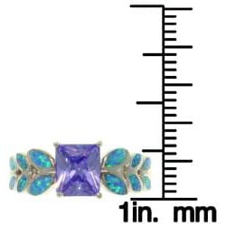 CGC Sterling Silver Purple Cubic Zirconia and Created Opal Leaf Motif Ring