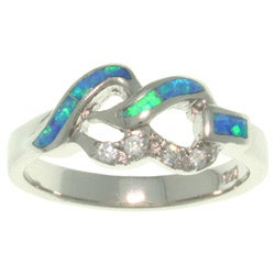 CGC Sterling Silver Cubic Zirconia and Created Opal Linked Hearts Ring