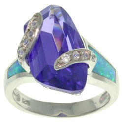 CGC Sterling Silver Freeform Purple Cubic Zirconia and Created Opal Ring