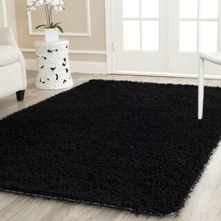 Safavieh Handmade Posh Black Shag Rug (4' x 6')