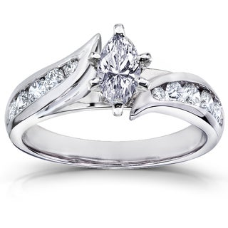 Annello 14k White Gold 1ct TDW Marquise Diamond Engagement Ring (H-I, I1-I2)