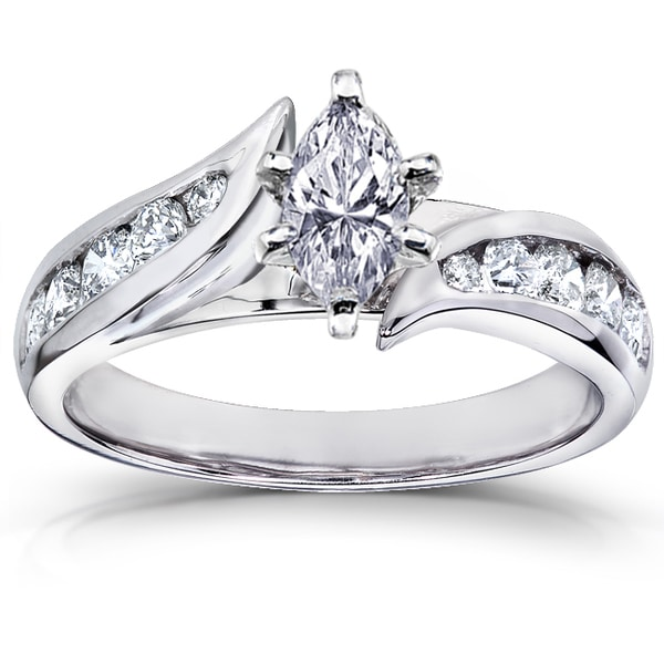 annello 14k white gold 1ct tdw marquise engagement