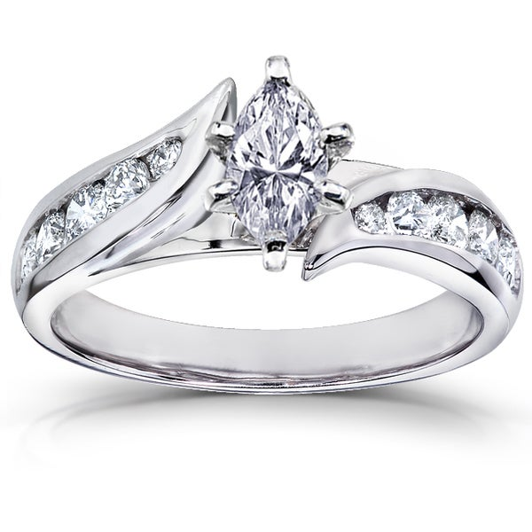 Annello 14k White Gold 1ct TDW Marquise Diamond Engagement Ring (H-I, I1-I2)
