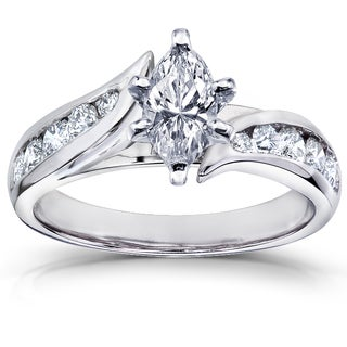 Annello  14k White Gold 1 1/4ct TDW Marquise Diamond Engagement Ring (H-I, I1-I2)