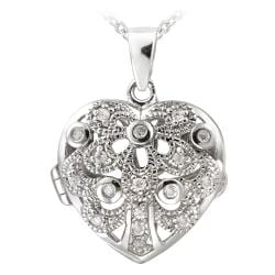 Icz Stonez Sterling Silver 1/5ct TGW Cubic Zirconia Heart Locket