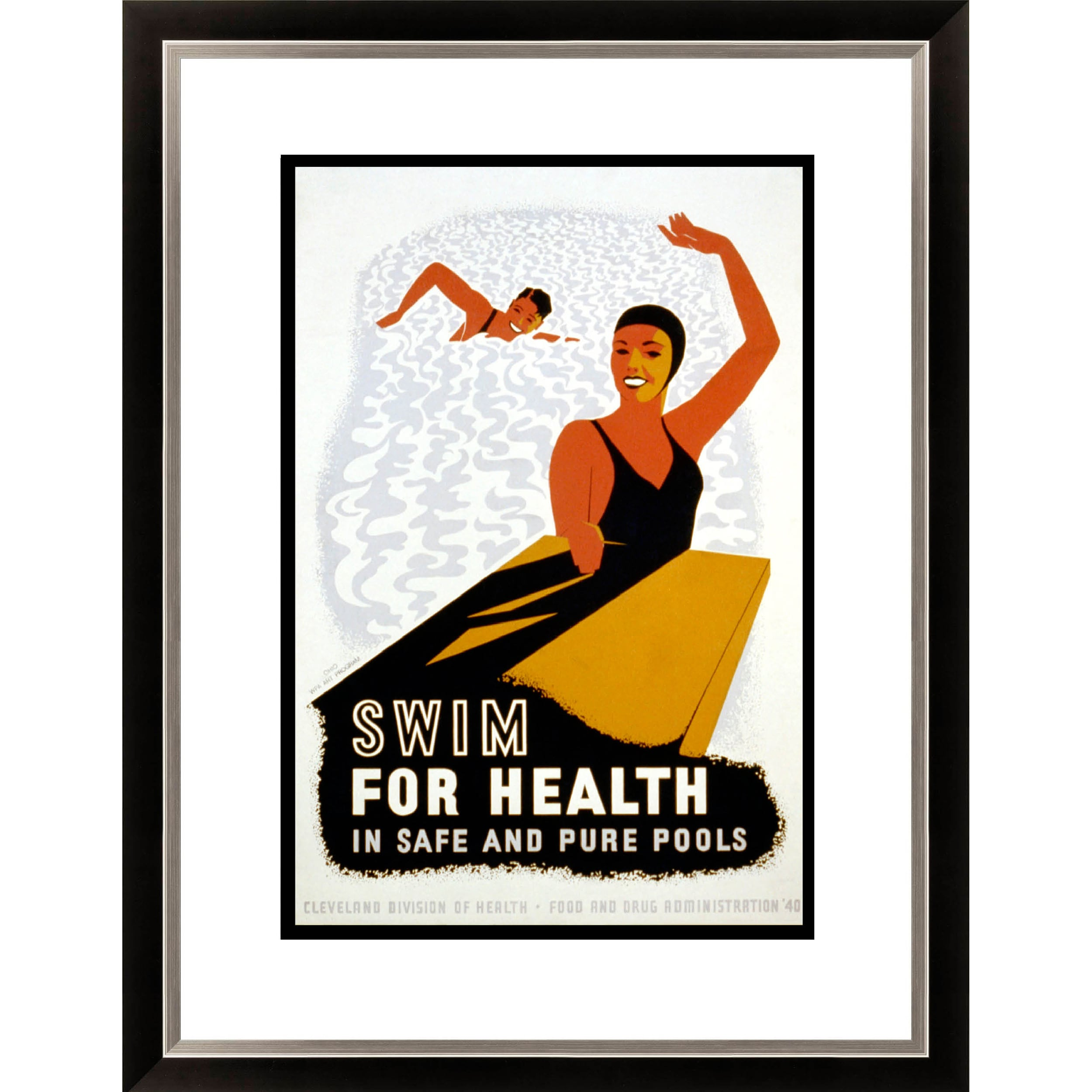'Swim for Health in Safe and Pure Pools' Framed Limited Edition Giclee