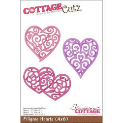 "CottageCutz Die 4""X6""-3 Filigree Hearts"