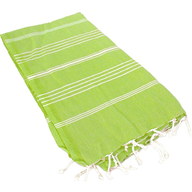 Turkish Green Stripe Fouta Bath/ Beach Towel