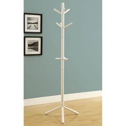 White Contemporary Solid Wood Coat Rack