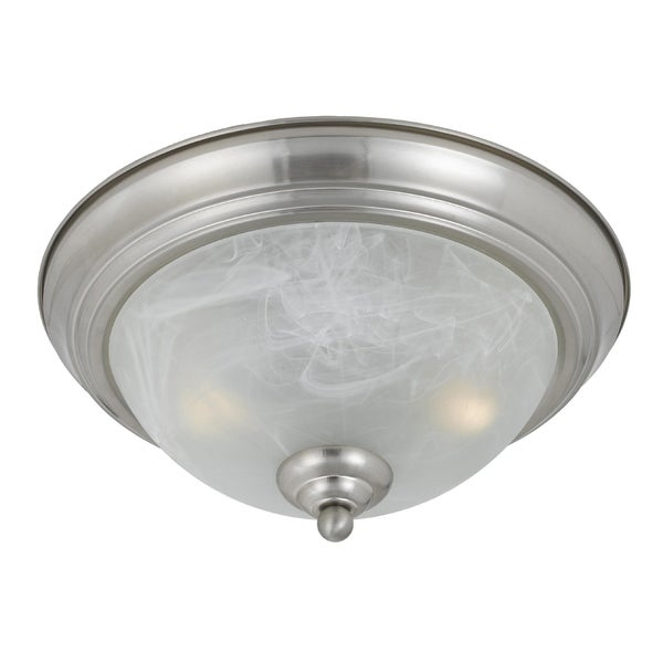 Transitional Satin Nickel 2-light Flushmount Fixture