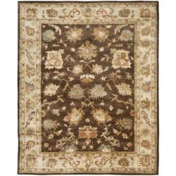 Handmade Zeigler Brown/ Ivory Hand-spun Wool Rug (9' x 12')
