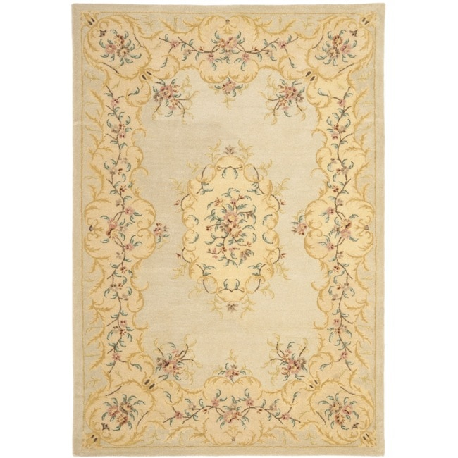 Safavieh Handmade Light Green/ Beige Hand-spun Wool Rug (8' x 10')
